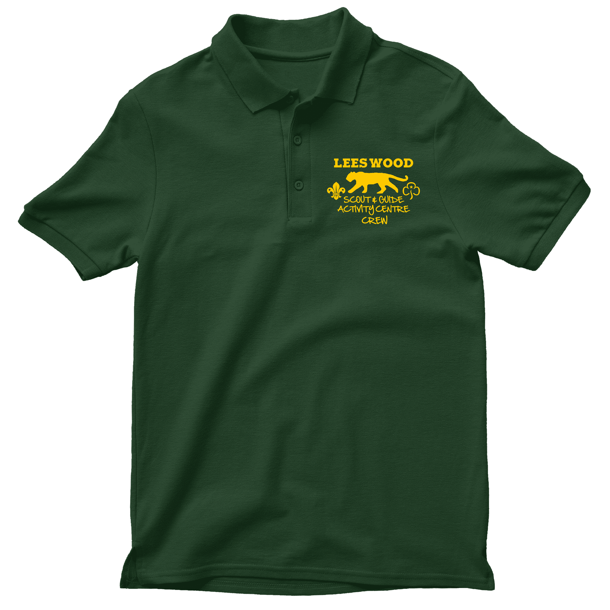Forest green lees wood crew polo shirt merrrch for Forest green polo shirts