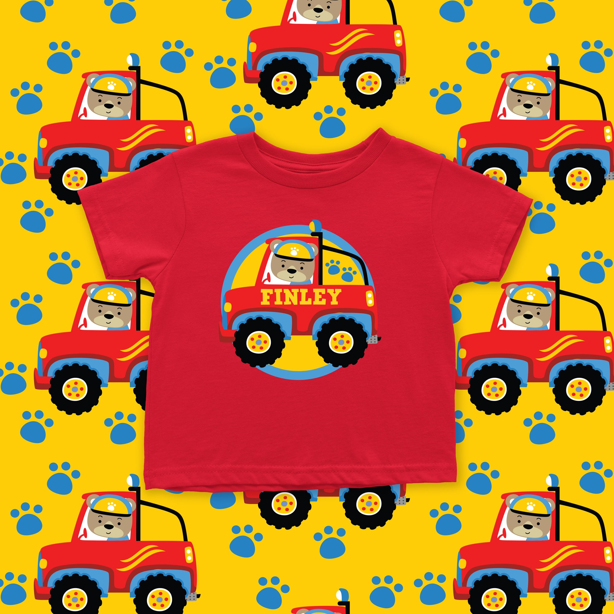 b876630700f Home   Transport   Baby Personalised Bear Truck T-Shirt