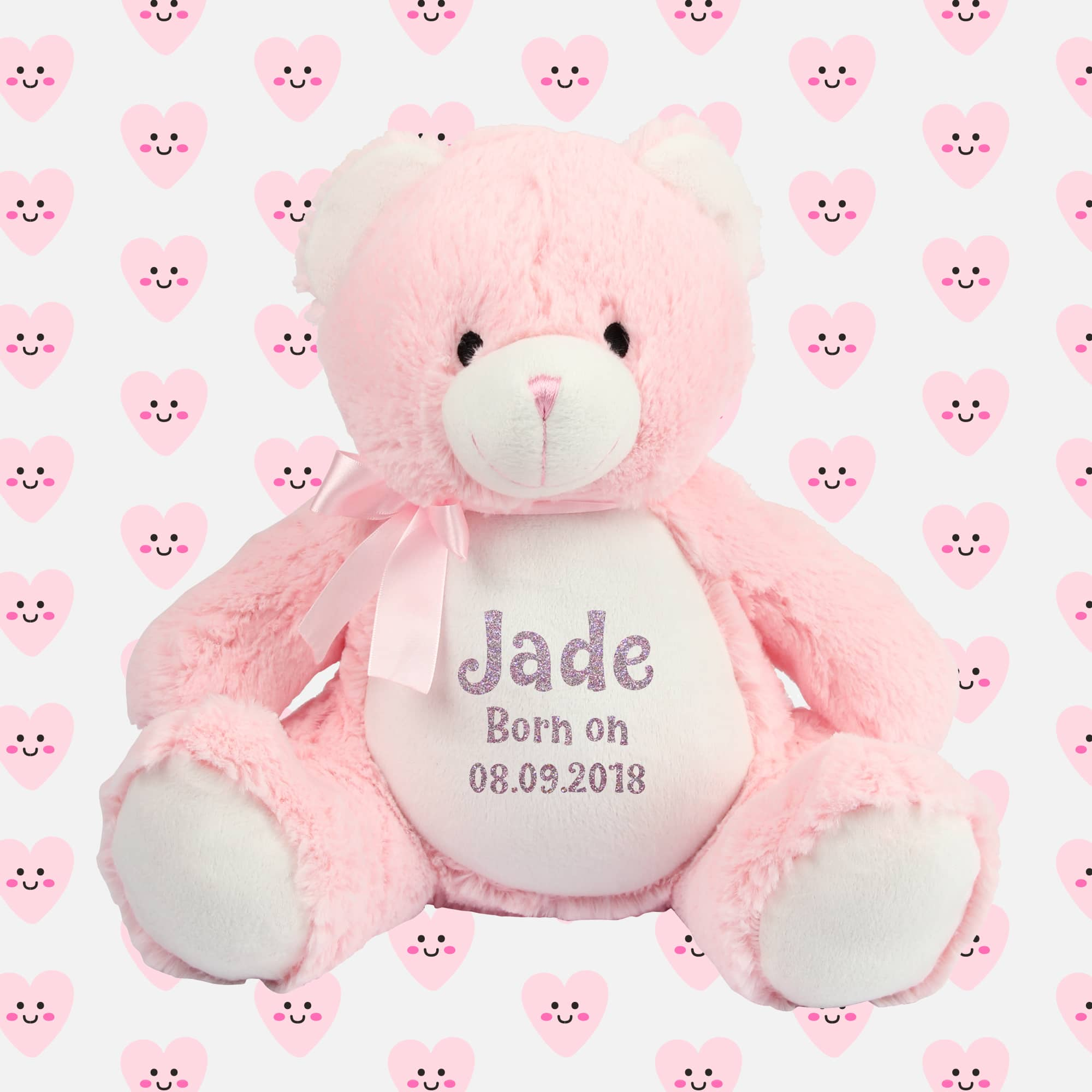 Personalised Baby Girl Pink Teddy Bear Glitter Soft Toy Merrrch